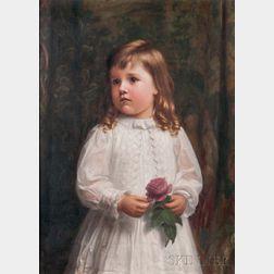 Carnig Eksergian (American, 1855-1931)      Little Girl in White Holding a Rose