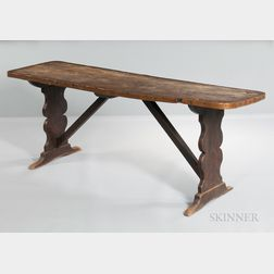 William and Mary Elm Trestle Table
