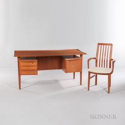 Peter Loving Nielsen Dansk Design Desk and a Teak Chair