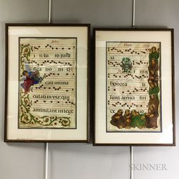 Two Framed Illuminated Vellum Music Sheets