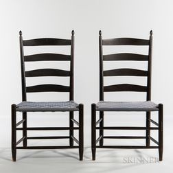 "Pair of Shaker Production ""No. 5"" Black-stained Shaker Chairs"