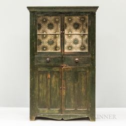 Country Glazed and Green-painted Pine Cupboard