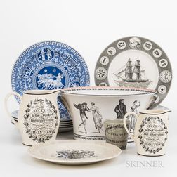 Seventeen Pieces of Modern Transferware