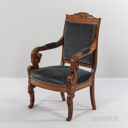 Carved Mahogany Restoration Period Armchair
