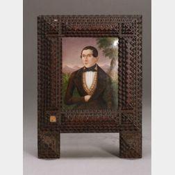 Framed Painted Porcelain Portrait Miniature of a Gentleman
