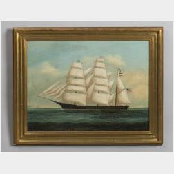 Chinese Export School, 18th Century  Portrait of the American Clipper Ship The Almeda