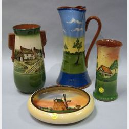 Watcombe Faience Cottage Landscape Vase, Windmill Landscape Low Bowl, a Tall Aller Vale Windmill Landscape Crimped Jug, and a Torquay P
