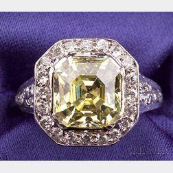 Art Deco Platinum, Yellow Diamond and Diamond Solitaire