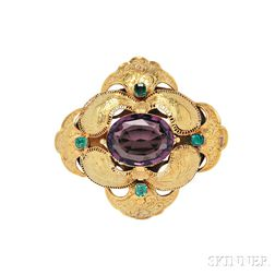 Gold, Paste, and Emerald Brooch