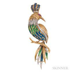 18kt Gold, Enamel, and Gem-set Bird Brooch