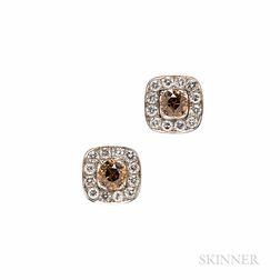 Platinum, Colored Diamond, and Diamond Earrings