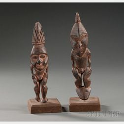 Two New Guinea Carved Wood Ancestor Figures