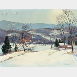 Charles Gordon Harris (American, 1891-1963)      Stowe, Vermont, from the Road to Stowe Hollow