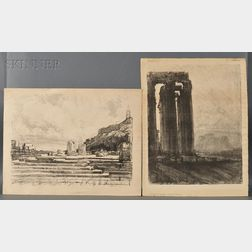 Joseph Pennell (American, 1860-1926)      Two Views of Classical Monuments:   Temple of Jupiter, Evening
