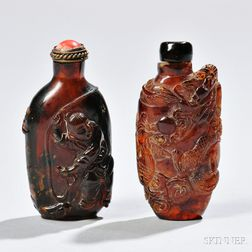 Two Amber Snuff Bottles