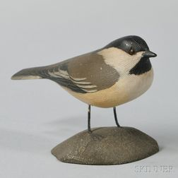 Carved and Painted Wood Figure of a Chickadee