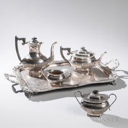Four-piece Elizabeth II Sterling Silver Tea and Coffee Service with Associated Silver-plate Tray