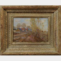 Shimon Okshteyn (Ukrainian/American, b. 1951)      Rural Landscape with Village Houses