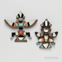 Two Zuni Knifewing Man Pins