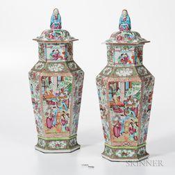 Pair of Rose Medallion Export Porcelain Covered Vases