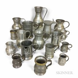 Seventeen Pewter Mugs, Measures, and Pitchers