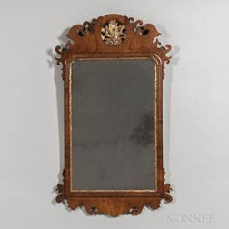 Large Mahogany Veneer and Parcel-gilt Scroll-frame Mirror