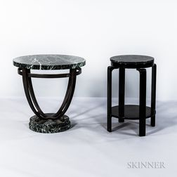 Two Marble-top Side Tables