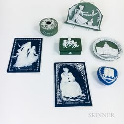 Seven German Ceramic Plaques and Boxes