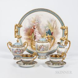 Sevres-style Hand-painted Tea Service with Tray