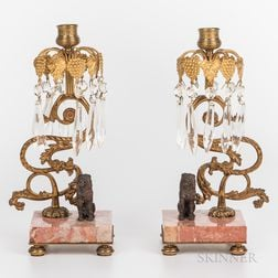 Pair of Gilt, Brass, and Marble Lustres