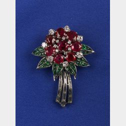 Ruby and Emerald Clip/Brooch