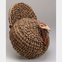 Southeast Coiled Pine Needle and Pinecone Turkey Basket