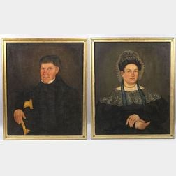 Attributed to Royall Brewster Smith,  Limington, Maine, (1801-55) Portrait of John and Annis Came