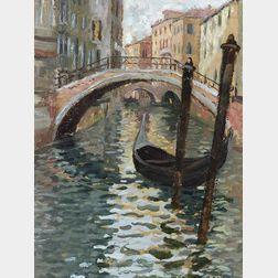 Caleb Arnold Slade (American, 1882-1961)  Venetian Canal View