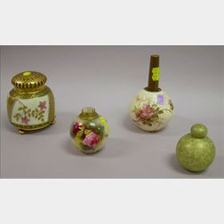 Three Pieces of Decorated English Ceramics and a Late Victorian Gilt-metal Mounted   Enamel Floral Decorated Art Glass Potpourri