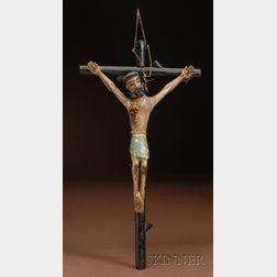 Southwest Polychrome Carved Wood Crucifix Figure