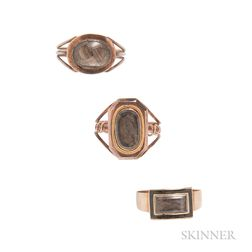 Three Antique Gold and Hairwork Mourning Rings