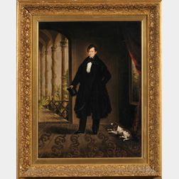 American School, 19th Century      Portrait of a Gentleman and His Spaniel.