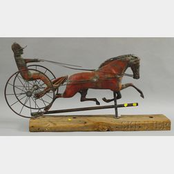 """Molded Copper """"Dexter"""" Horse and Sulky Weather Vane"""
