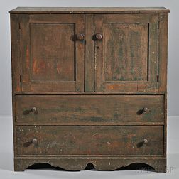 Painted Pine Cupboard over Drawers