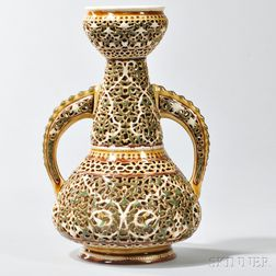 Zsolnay Reticulated Double-Walled Vase