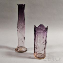 Two Moser Floral Intaglio Vases