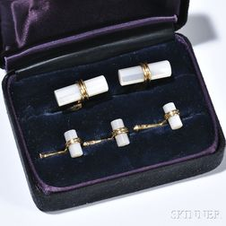 Gentlemans 14kt Gold and Mother-of-pearl Dress Set, Tiffany & Co., comprising a pair of cuff links and three shirt studs, signed, boxe