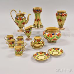 Set of Seventeen Wedgwood Copper Lustre-decorated Items