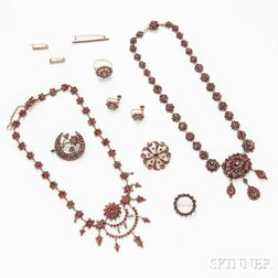 Ten Pieces of Victorian Gilt Garnet Jewelry