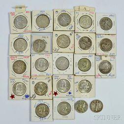 Twenty-three Assorted U.S. Half Dollars