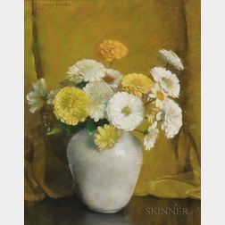 Laura Coombs Hills (American, 1859-1952)      Yellow and White Zinnias