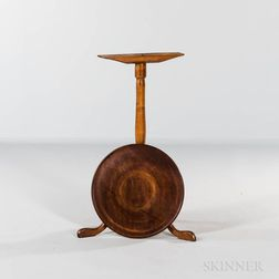 Chippendale Walnut and Maple Candlestand