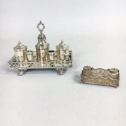 Two Continental Silver Ink Stands