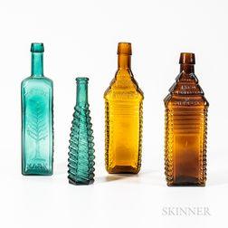 Four Molded Bottles